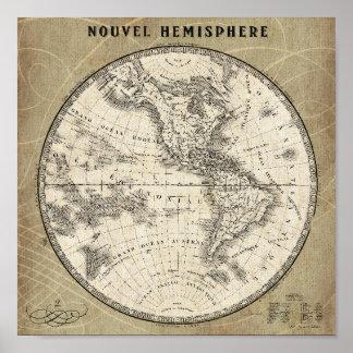 Poster Carte vintage d'hémisphère nord
