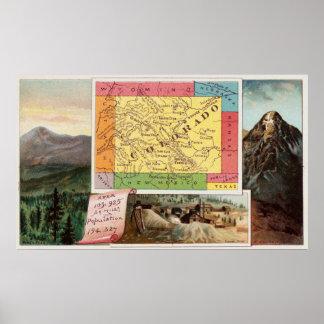 Poster Carte vintage du Colorado avec les illustrations