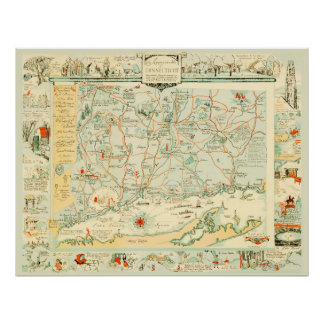 Poster Carte vintage du Connecticut à partir de 1926