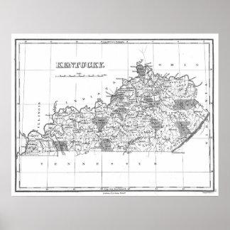 Poster Carte vintage du Kentucky (1827) BW