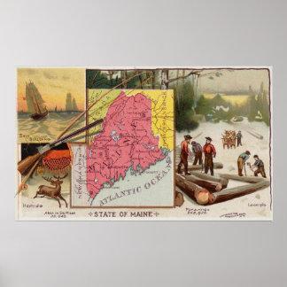 Poster Carte vintage du Maine avec les illustrations