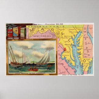 Poster Carte vintage du Maryland avec les illustrations