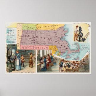 Poster Carte vintage du Massachusetts avec des