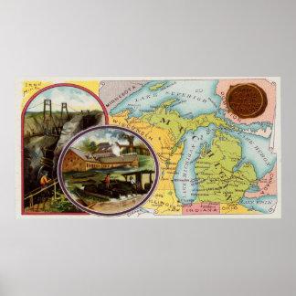 Poster Carte vintage du Michigan avec les illustrations