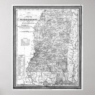 Poster Carte vintage du Mississippi (1853) BW