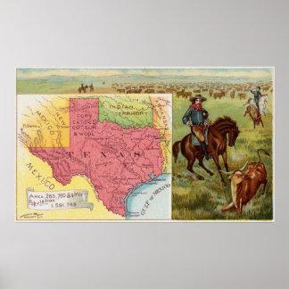 Poster Carte vintage du Texas avec les illustrations