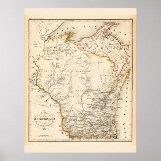 Poster Carte vintage du Wisconsin 1852