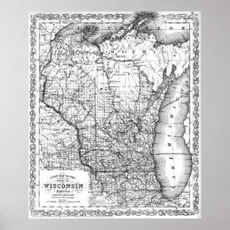Poster Carte vintage du Wisconsin (1859) BW