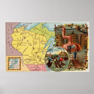 Poster Carte vintage du Wisconsin avec les illustrations