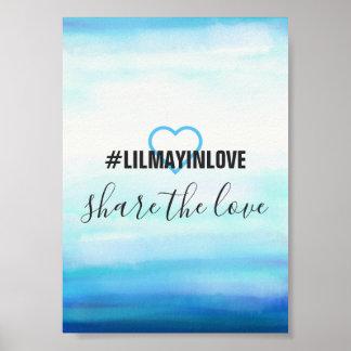 Poster Cartes bleues de Hashtag d'aquarelle de vagues