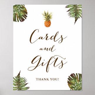 Poster Cartes et ananas tropical de feuille de signe de