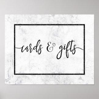 Poster Cartes et cadeaux de mariage de marbre blancs et