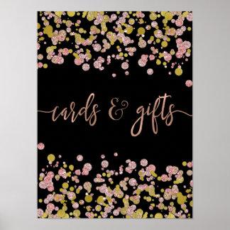Poster Cartes et cadeaux de mariage roses d'or