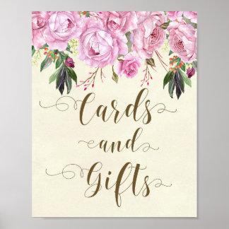 Poster cartes et cadeaux ens ivoire floraux pourpres de