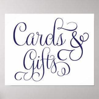 Poster Cartes et cadeaux épousant la marine de signe