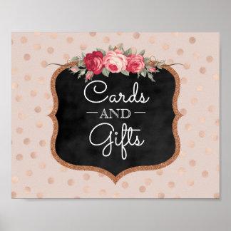 Poster Cartes et cadeaux épousant les confettis roses