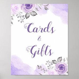 Poster Cartes et signe floral pourpre en pastel de