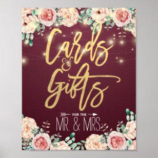 Poster Cartes florales et cadeaux d'aquarelle chic