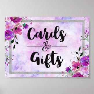 Poster Cartes floraux et cadeaux pourpres de noces