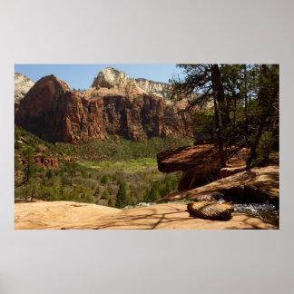 Poster Cascade aux piscines vertes en parc national de