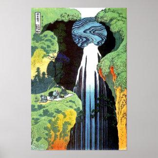 Poster Cascade d'Amida, beaux-arts de Japonais de Hokusai