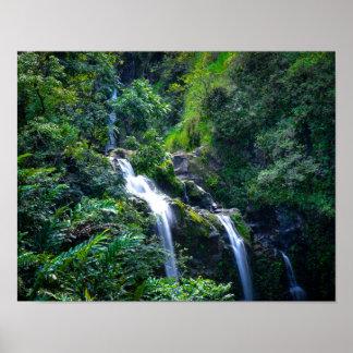 Poster Cascade dans Maui tropical Hawaï