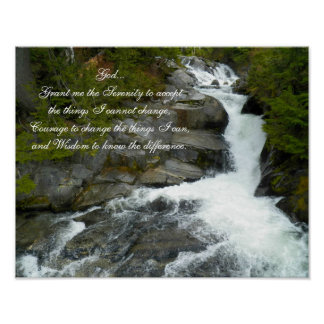 Poster Cascade de forêt de prière de sérénité