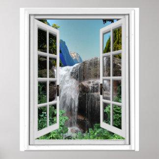 Poster Cascade Trompe - l ' vue de fenêtre de Faux