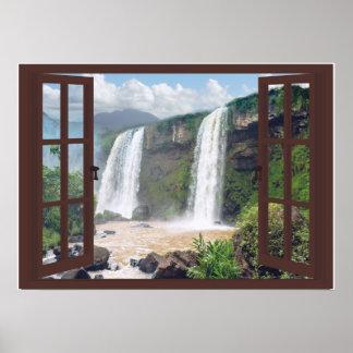 Poster Cascades Trompe - l ' fenêtre de Faux d'oeil