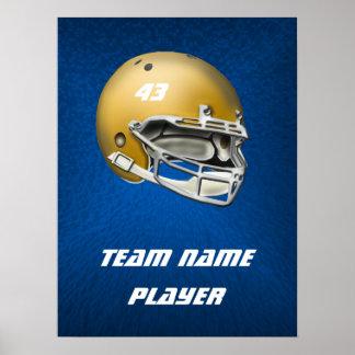 Poster Casque de football goldtone sur l'arrière - plan