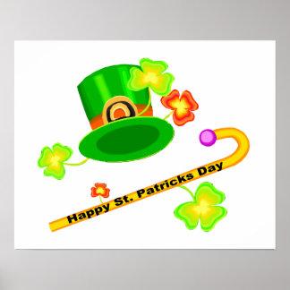 Poster Casquette du jour de St Patrick heureux et collage