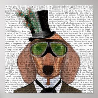 Poster Casquette supérieur de lunettes vertes de teckel