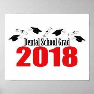 Poster Casquettes et diplômes du diplômé 2018 d'école