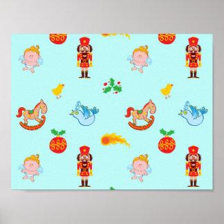 Poster Casse-noix, cheval, ange et motif de Noël d'oiseau