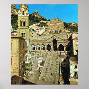Poster Cathédrale de l'Italie vintage, Amalfi
