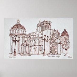 Poster Cathédrale de Valence en Plaza de la Virgin
