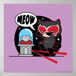 Poster Catwoman de Chibi volant un diamant