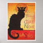 Poster Causez Noir par le chat français vintage de