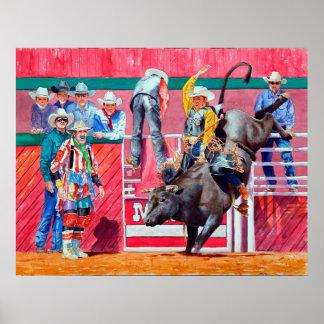 Poster Cavalier de clown et de Taureau de rodéo