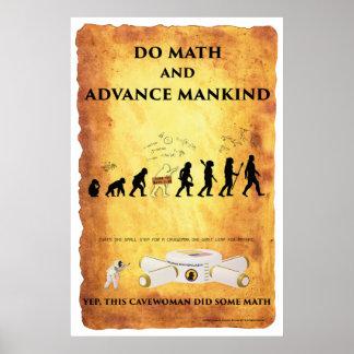 Poster Cavewoman futés : Faites les maths et avancez le