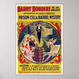 Poster Cellule de prison vintage de Harry Houdini et