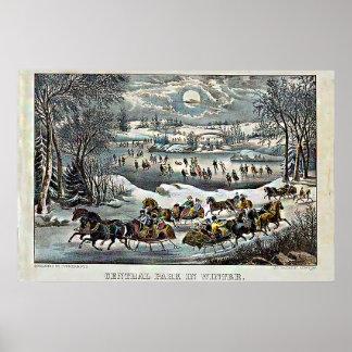 Poster Central Park en hiver Currier et Ives