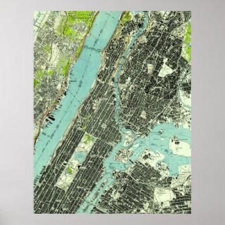 Poster Central Park vintage et Bronx NY Map (1947)