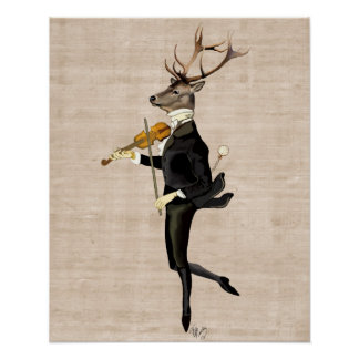 Poster Cerfs communs de danse avec le violon