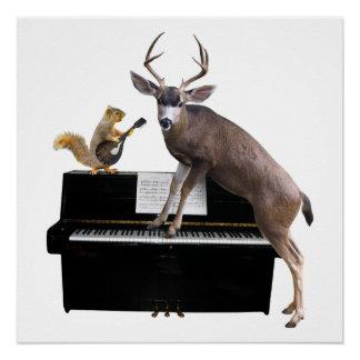 Poster Cerfs communs et écureuil au piano