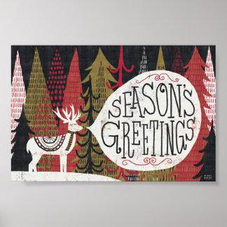 Poster Cerfs communs originaux de Noël