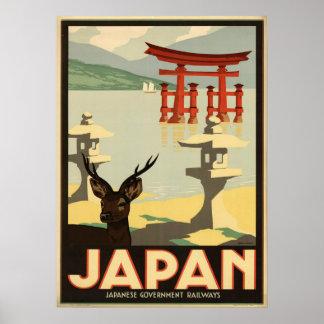 Poster Cerfs communs vintages du Japon Sika, affiche de