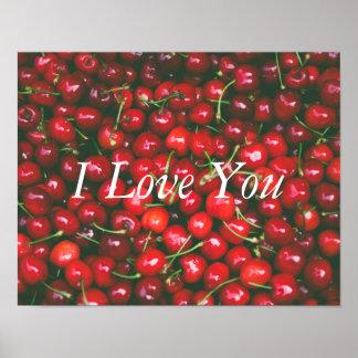Poster Cerise rouge - je t'aime (texte personnalisable)