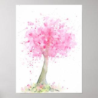 Poster Cerisier rose abstrait d'aquarelle