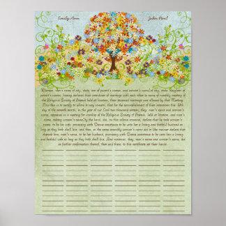 Poster Certificat de mariage de quaker d'impression